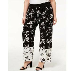ALFANI Black White Floral Palazzo Pull On Pants